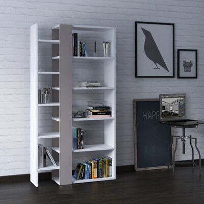 Brayden Studio Bentonville Geometric Bookcase Colour White Light