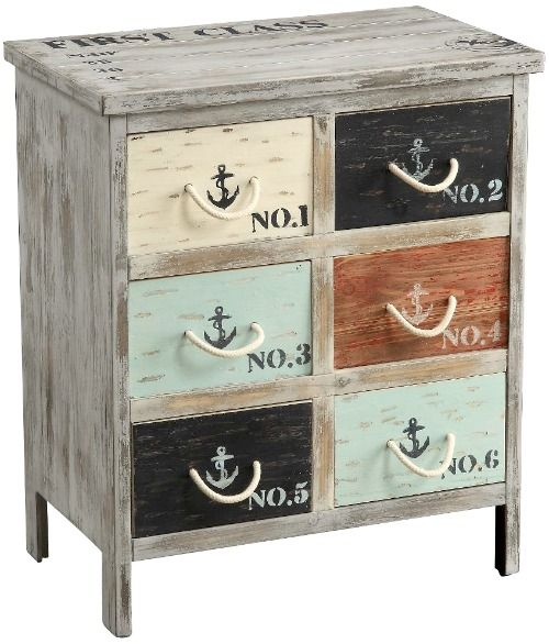 Nautical Cabinet with Anchors and Rope Handles: http://www.completely-coastal.com/2016/08/coastal-cabinets-and-chests.html