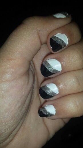 Black & white with silver stripe