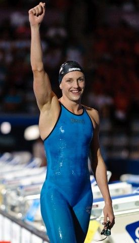 Katinka Hosszu after swimming 200m freestyle  in Doha