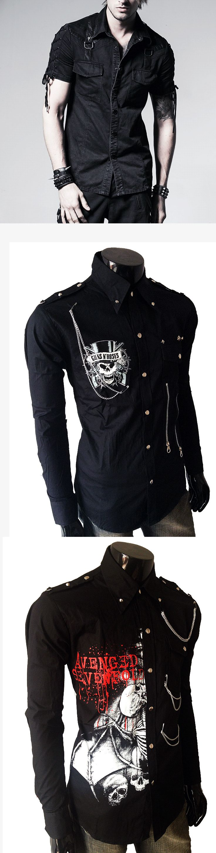 Shop punk skull shirts for men at RebelsMarket.