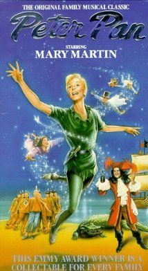 *PETER PAN, 1960, Poster: In this magical tale about the boy who refuses to grown up, Peter Pan and his mischievous fairy sidekick Tinker Bell visit the nursery of Wendy, Michael & John Darling. With a sprinkling of...  Starring: Mary Martin, Cyril Ritchard, Lynn Fontanne...