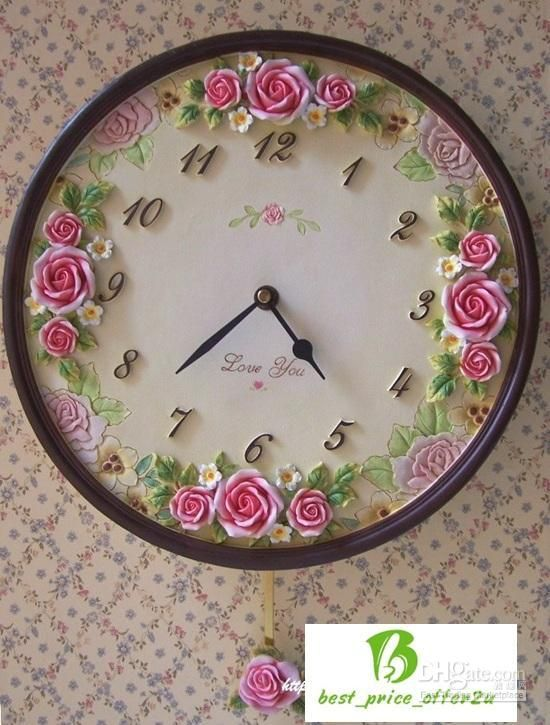 Country Style Shabby Rose Cottage Round Wall Clock #shabbychic