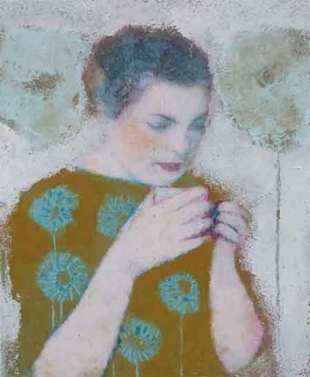 Veronique Paquereau, Quand je pense a elle, Gemengde techniek en fotocollage op doek, 24x20 cm, €.220,-