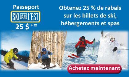 Profitez de la semaine de relâche pour skier dans les Cantons-de-l'Est en vous procurant le Passeport Ski dans l'Est. Au coût de 25 $ plus taxes, le passeport vous permet d'obtenir 25 % de rabais sur les billets de remontées au Mont SUTTON, Owl's Head, Ski Bromont et Ski Mont Orford. >> www.skidanslest.com