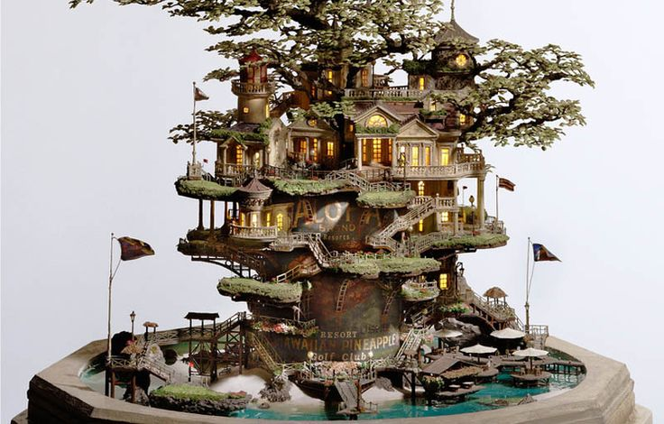 Now THATS what I call a TREE HOUSE!      Artwork and Photography by TAKANORI AIBA @ TOKYOGOODIDEA.COM     As a follow-up from yesterday's Picture of the Day, the Sifter was compelled to do a full feature on Takanori Aiba's incredible miniature sculptures. The level of detail and intricacy in his work is truly mind-blowing. Each sculpture is like a miniature world, bursting with [...]: Miniatures, Bonsai Trees, Sculpture, Stuff, Tree Houses, Art, Fairy Garden, Takanori Aiba, Treehouses