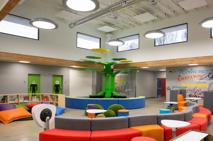 Turlock Christian Elementary School Library with Campfire seating, Plektrum tables and the Grassy Dome from NorvaNivel.