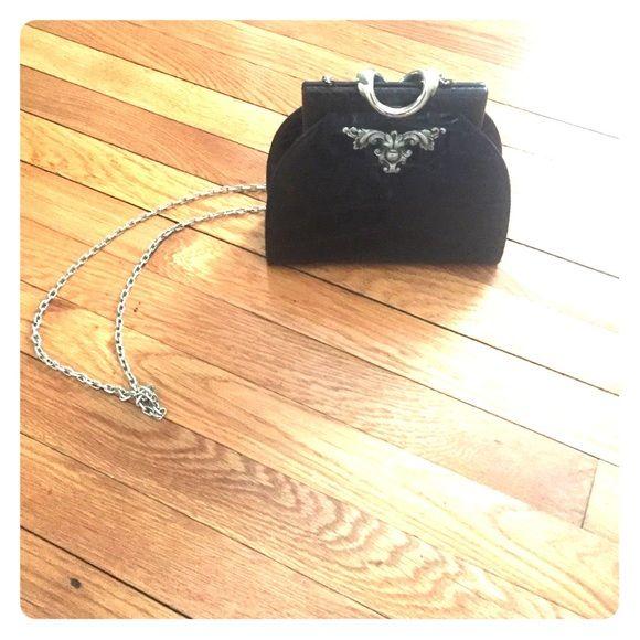 Leather evening bag A vintage alligator black leather evening bag with chain strap Bags Mini Bags