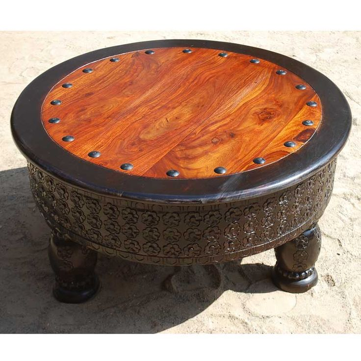 Mango Wood Hand Carved Round Coffee Table W Wrought Iron