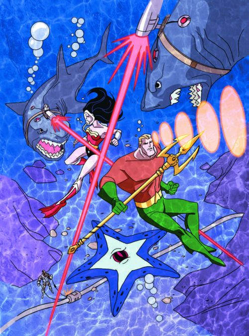 In honor of Wonder Woman Day, another sneak peek featuring her partner in crime, Aquaman, facing off against a group of, you guessed it, sharks with lasers on their heads. My Justice League book featuring Starro drops in August. Pick up a copy HERE....