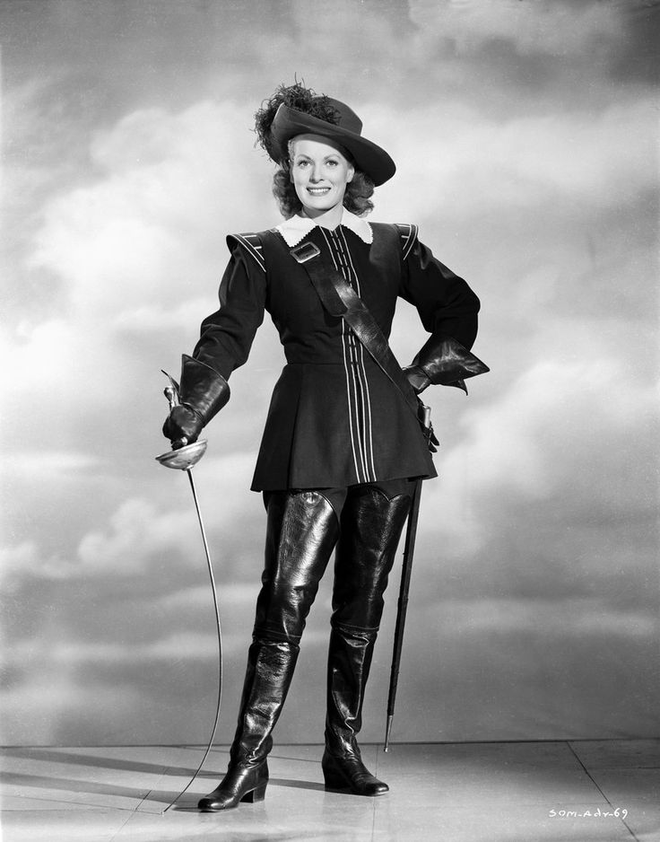 Maureen O'Hara in Fencing Outfit Black and White High ...