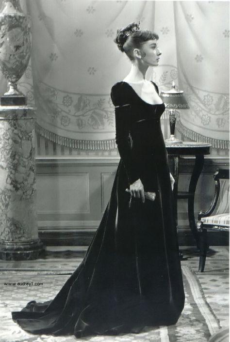 Audrey Hepburn in a velvet dress