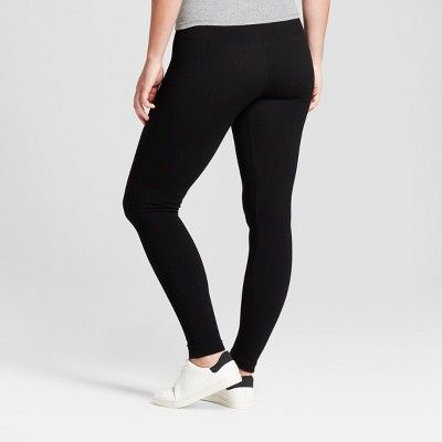 Women's Solid Cotton Blend Twill Seamless Legging with 5 Waistband - A New Day Black S/M, Gray
