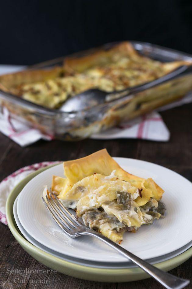 Lasagne con carciofi profumate al limone