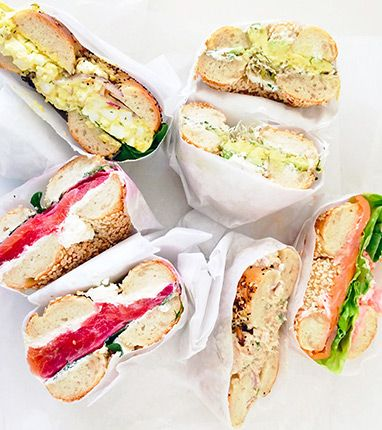 Hand-rolled bagels from Black Seed Bagels in NOLITA. Favorites include: beet-cured gravlax, a basic tuna salad, Tobiko spread, and the egg salad (though it's heavy on the dill).