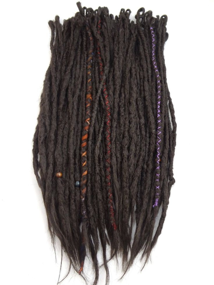 """Full kit ready to ship in my #etsy shop: 70 SE Synthetic Dreads. Medium Brown knotty dreadlocks. thin and 16-20"""" long, with wraps. #accessories #hair #extensions #dreadlocks #dreads #synthetic #dreadlockextensions #dreadextensions #dread http://etsy.me/2EyZ3bV"""