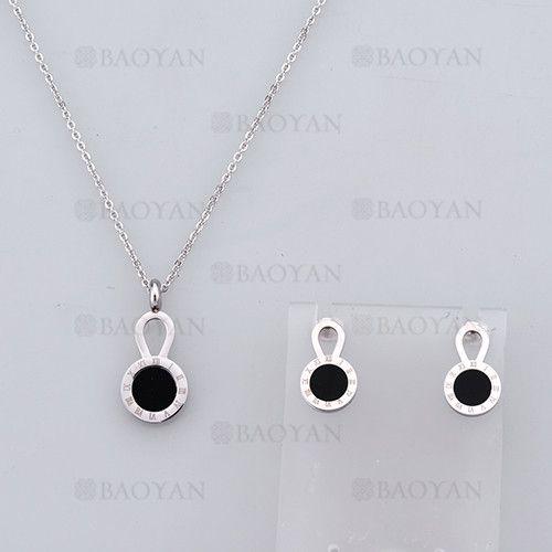 collar y aretes sencilla con numero romano de plateado en acero-SSNEG804082