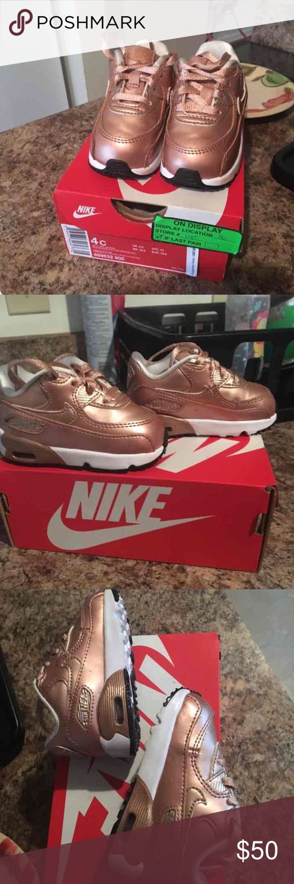 Rose gold Nike air max Rose gold/bronze (like new no scratches or dents) Nike air max size 4c Box included Nike Shoes Sneakers