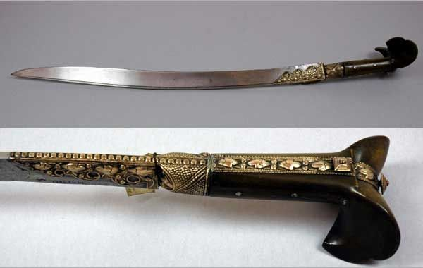 Yataghan sword from Turkey, Europe. Part of the Pitt Rivers Museum Founding Collection. Given to the Museum in 1884.