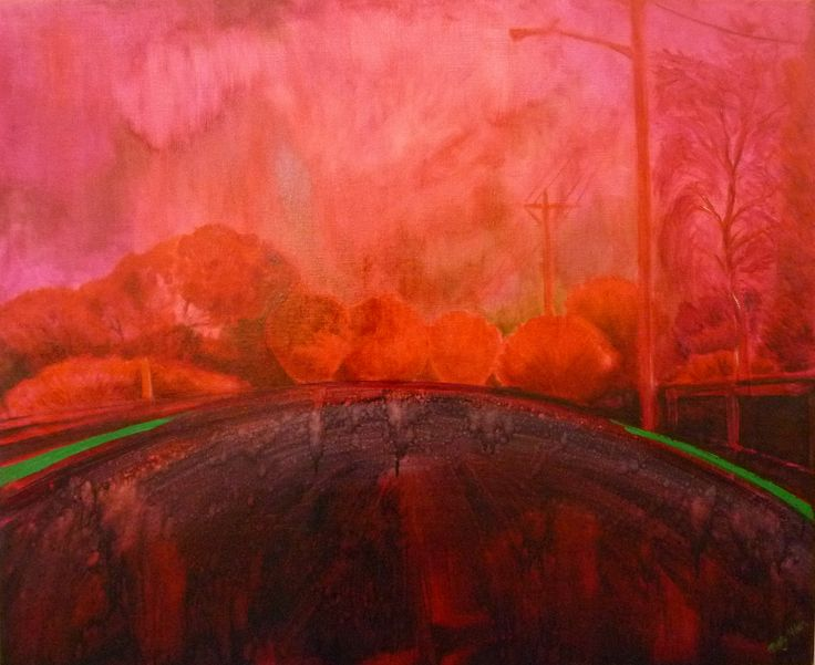 Pink Esplanade by Betty Nolan. A very foggy day took all colour from the world so here is the road along the river with the colour replaced with quinacridione violet, rose madder, magenta, geranium and rose dore transparent oils.