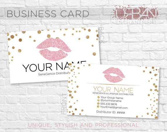 Custom LipSense Business Cards White by UrbanEnchantment1 on Etsy