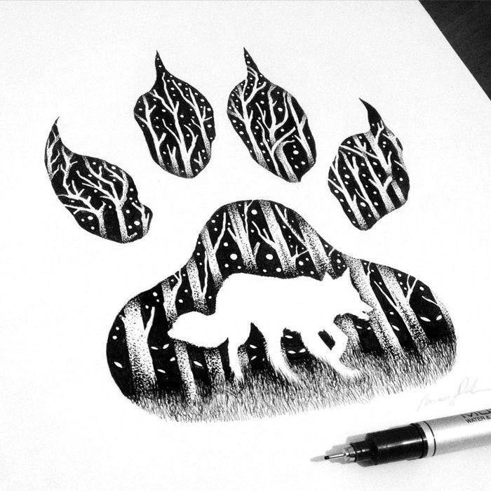 Thiago Bianchini ist ein brasilianischer Illustrator, der surrealistische Zeichnungen in Pointillismus und Doppelbelichtung erstellt