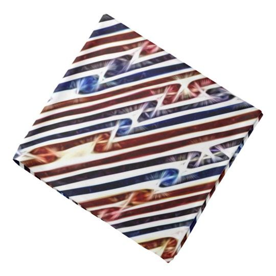 Abstract red white and blue lines pattern kerchief