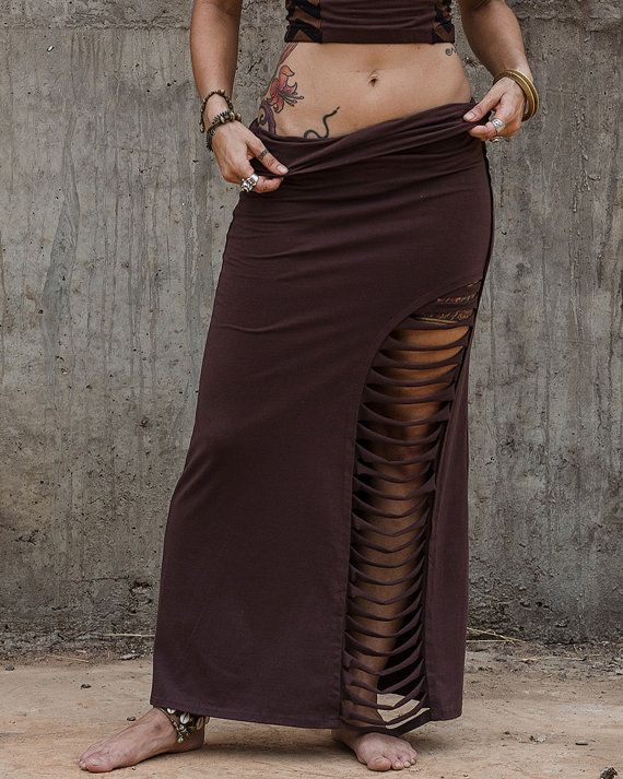 Women Festival Skirt, Brown Skirt, Maxi Skirt With Slit, Women's Skirt, Pixie…