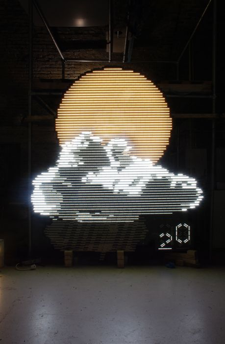 Troika, UK  THE WEATHER YESTERDAY,   (2012)  LED's, aluminium, custom electronics  2,20 m (H) x 2,20 m (W) x 10 cm (D)    'The Weather Yesterday' takes our obsession with progress ad absurdum by sardonically changing our focus from 'forecast' to the 'past'. The five metre-high sculpture celebrates the weather as a predominant topic of discussion in british culture while offering a spin on the urgency with which we are using our mobile devices, forecasting and interactive technology. #art