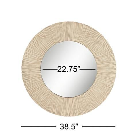 "Ribbed Sunburst Beige 38 1/2"" Round Wall Mirror - #15D82 