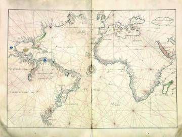 El atlas mundial de Battista Agnese (Génova, h. 1500-1564) hecho en Venecia hacia 1550, son 14 cartas naúticas manuscritas iluminadas sobre pergamino de 42x56 centímetros.rn