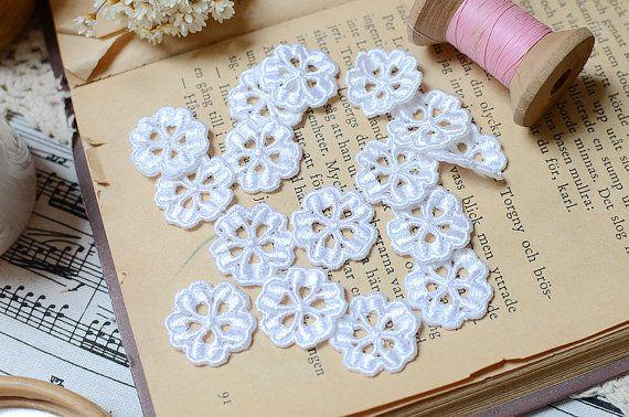 10 PCS White Lace Flower White Lace Applique by LaceDecoration