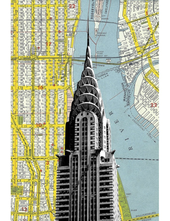 Architectural Mixed Media and Map Prints. NYC by DarkIslandCity on etsy