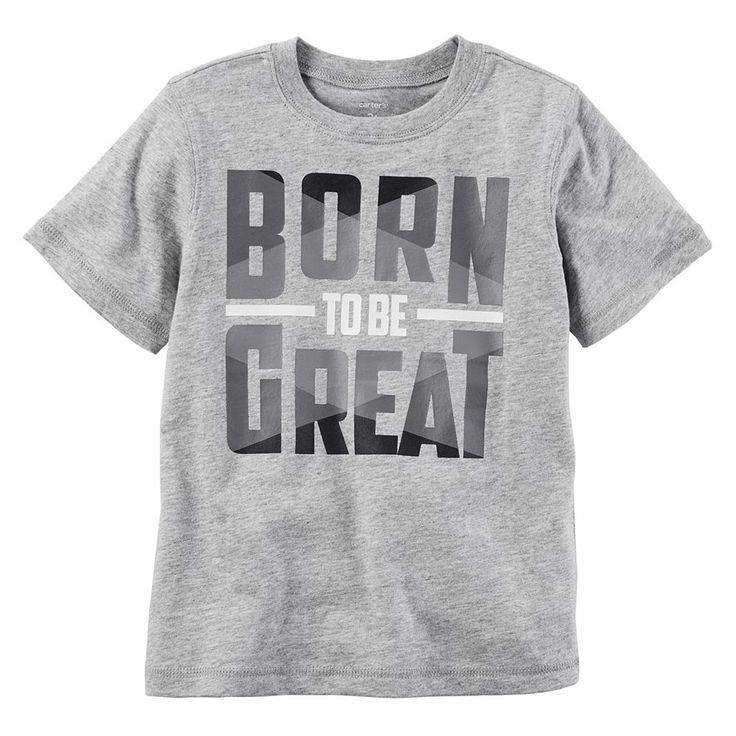 "Toddler Boy Carter's ""Born to be Great"" Graphic Tee, Size: 3T, Light Grey"