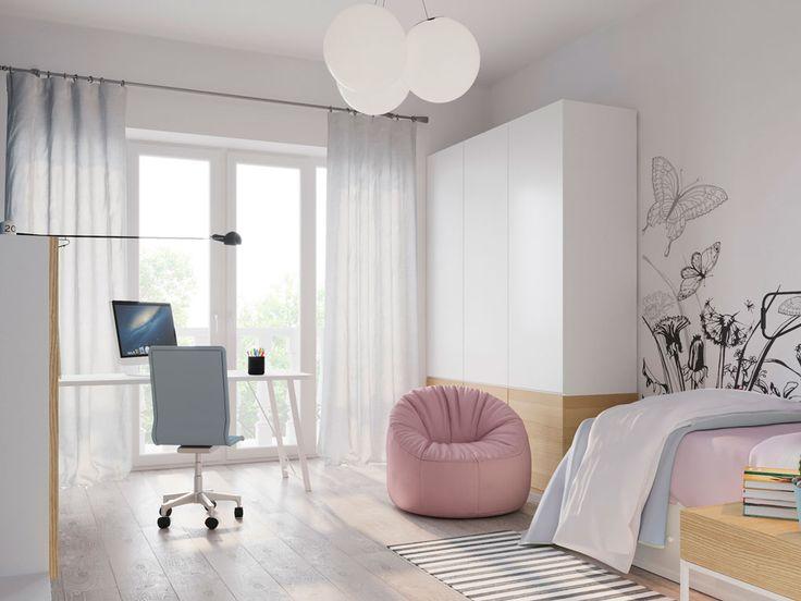 скандинавский стиль в интерьере, минимализм, интерьер с белыми стенами, цветовые акценты в интерьер, детская девочки,