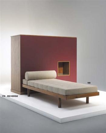 Charlotte Perriand; Oak Bed from Maison du Brésil, Cité International Universitaire de Paris, 1950s.