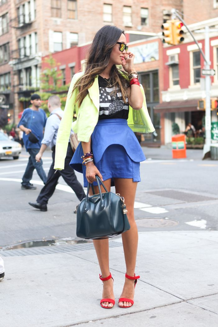 Song of Style: Live.Love.A$VPCool Clothing, Neon Jackets, Blue Skirts, Street Style, Peplum Color Pink, Songs Hye-Kyo, Songs Of Style, Colors Block, Clothing Street
