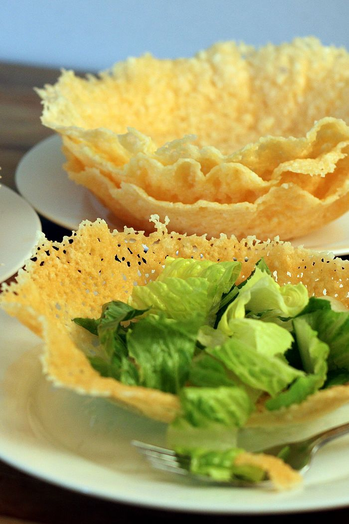 Easy Microwave Edible Cheese Bowls. These delicious, fancy-looking salad bowls are incredibly easy to make. Step-by-step photos show you how to make 6 Parmesan bowls in just 15 minutes. Always a WOW! Recipe at TheYummyLife.com