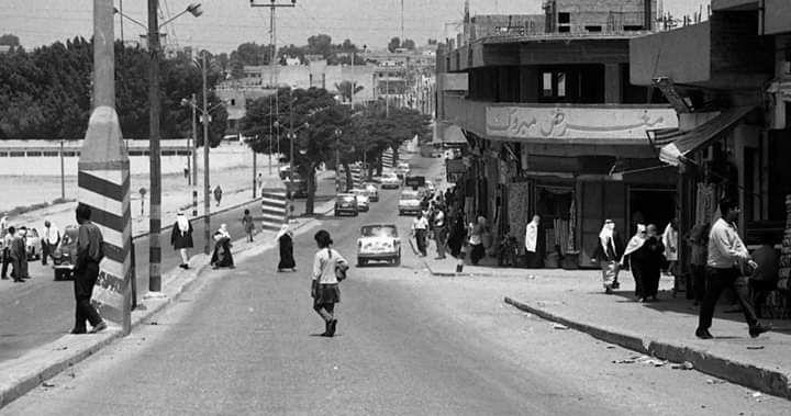 شارع عمر المختار دحلة البلدية سنة 1972 غزة فلسطين Street View Street Scenes