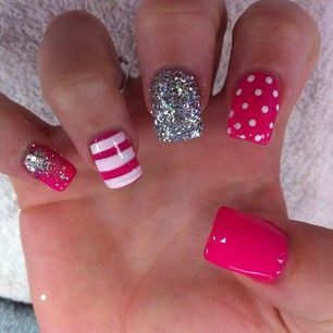 Pink glitter stripes