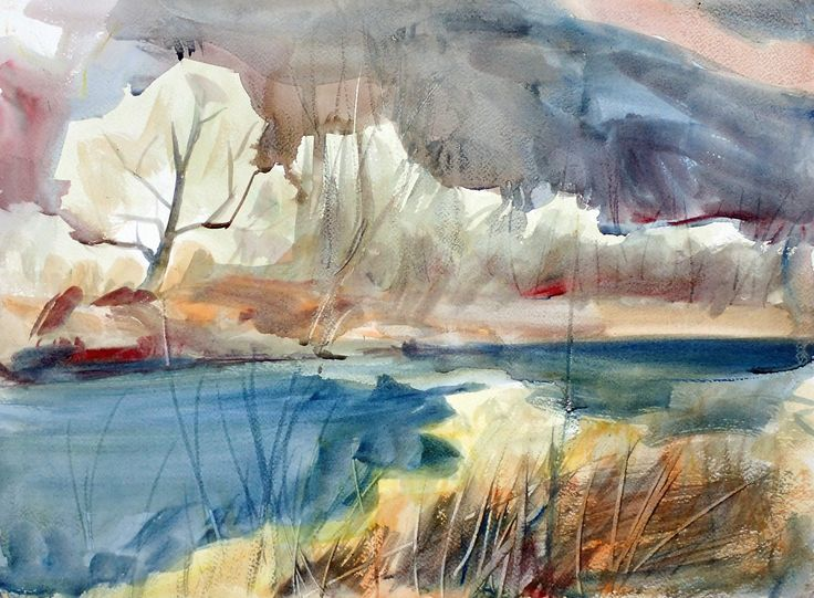 Landscape with a River, watercolor on paper