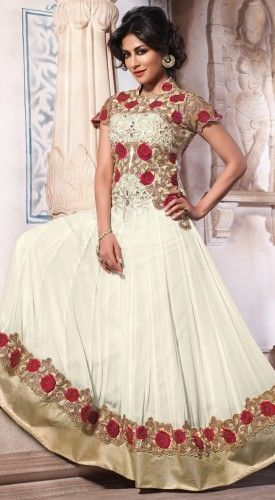 #Chitrangada in Beige and Off-White Rosy Georgette #Anarkali Suit with matching #Chiffon Dupatta its work based on top with #handwork pair with backside with net inner is santoon with bemberg  bottom is santoon with bemberg.