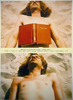 Dennis Oppenheim, Reading Position for Second Degree Burn, 1970, book, skin, solar energy