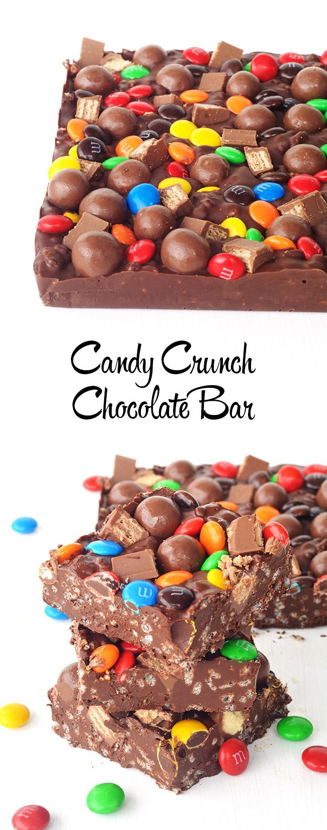 Candy Crunch Chocolate Bar that tastes just like a Nestle Crunch Bar topped with all your favourite candy! No bake and only 5 ingredients!