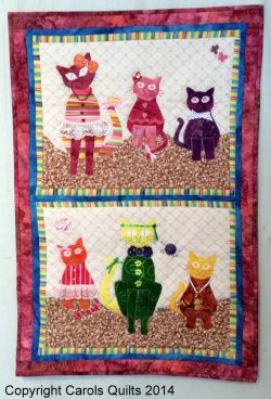 Gorgeous colourful cats and kittens using the Cat Template from Carols Quilts and the pattern included with the template