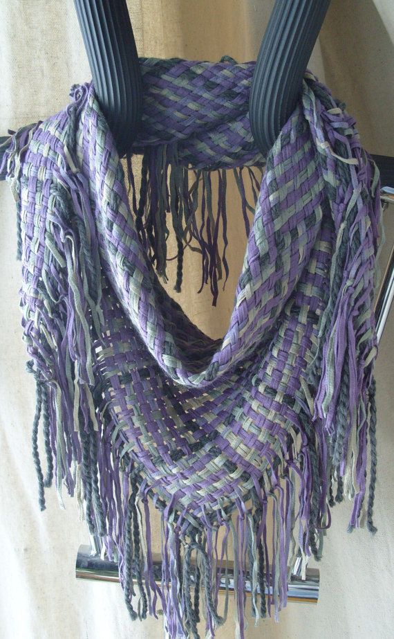 Handwoven Triangle Scarf Winter Twilight Cowl by barefootweaver, $82.00