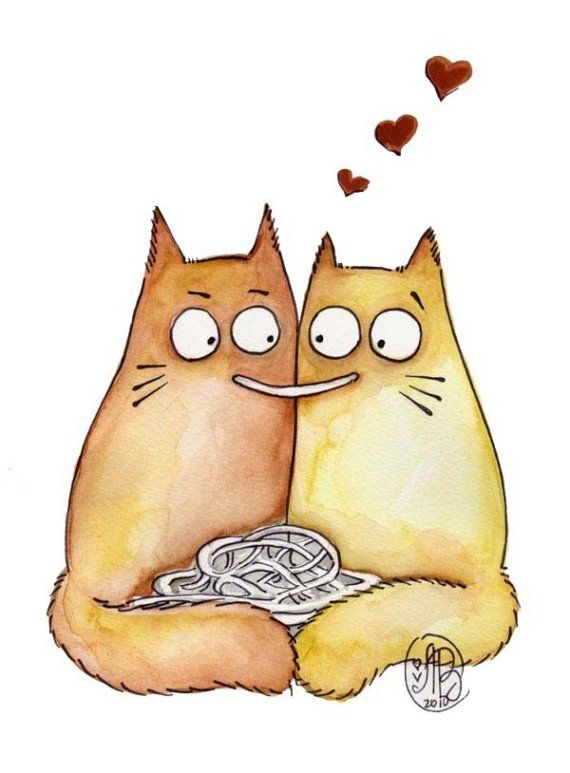 Коты любовь картинки нарисованные, под зонтом картинки