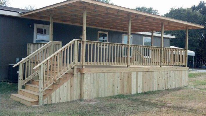 Covered Deck 16x20 With Metal Roof Mobile Home Porch House With Porch Building A Porch