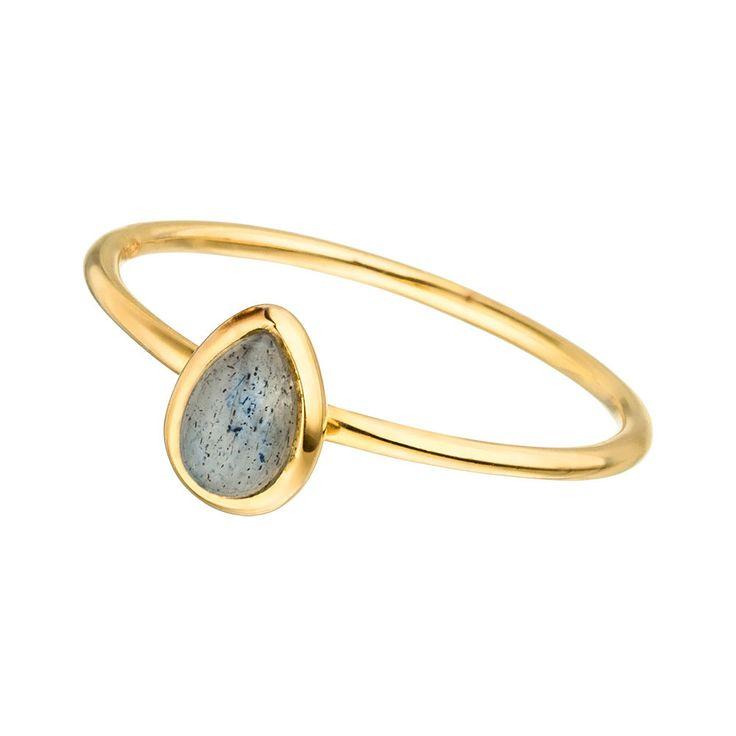 Ring Teardrop Single, Labradorit, 18 K Gelbgold vergoldet, Größe 52