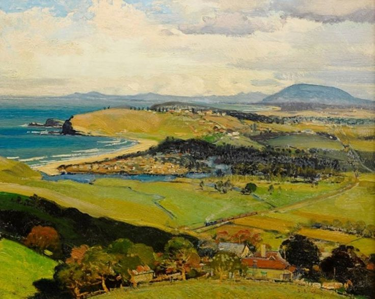 Oil painting by Herbert Reginald Gallop (1890 - 1958) Gerringong South Coast As Seen From The Princes Highway Mt Pleasant